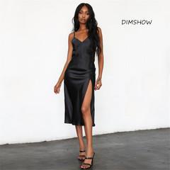 Hot solid color V-neck halter strap sexy female split strap dress s black