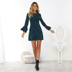 2018 Sexy Women's Dress Summer Casual Printing Long-sleeved O-neck Flared Sleeve Button Dress s dark green