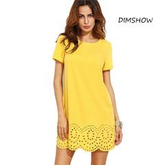Mini Dresses Fall Fashion Shift Dress Yellow Short Sleeve Hollow Hem Shift Dress s yellow