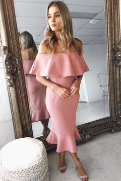 New Sexy Solid Ruffles Slash Neck Long Dress 2018 Summer Women Dresses Fashion Club Party Dress s pink