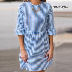 2019 New Design Women stripe loose casual dress lantern sleeve cotton shirts fashion dress s dark blue