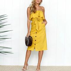 Fashion Casual Summer Solid Dress Party Dresses High Quality 2018 New Women Off Shoulder Sexy Dress s yellow