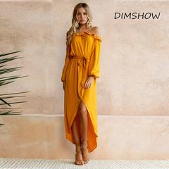 2019 New Autumn Fashion Slash Neck Long Sleeve Casual Ruffles Dress Women Yellow Vintage Party Dress s yellow
