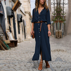 2018 Fashionable Loose Turn-down Collar Long Sleeves Pure color casual Elegant Shirt Long Skirt s navy blue