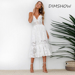 2018 Deep V Neck White Lace Sexy Dress Women Summer Backless Elegant Hollow Out Mid-Calf Party Dress s white