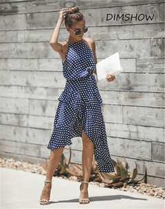 New Fashion Summer Dot Printed Dress Women Sexy Sleeveless Off Shoulder Bodycon Halter A Line Dress s blue