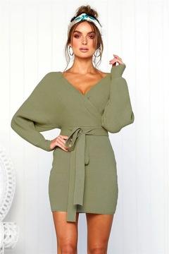Women Sweater Coat Knitwear Sexy Pack Hip Warm Sweater Fashion Women Pure Color V-neck Sweater Dress s green