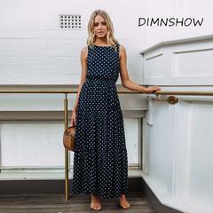 Vintage Style Maxi Dress Polka Dot Print Women Dress Elegant O Neck Sleeveless Elastic Waist Beach s navy blue