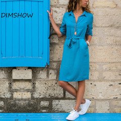 Autumn Womens Dresses 2018 Casual Long Sleeve Elegant Turn-down Collar Laides Shirt Dresses Sexy s blue
