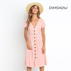 2018 New Women's Fashion Summer Elegant Dresses Short Sleeve V-Neck Button Swing Beach Sundress s pink