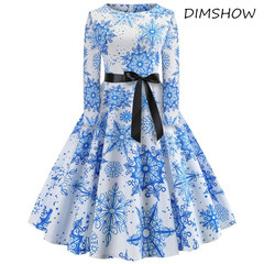 2018 new fashion christmas dress women winter Vintage Print snowflake Long Sleeve Christmas dress s blue