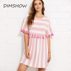 Women Stripe Print Short Sleeve Multicolor Tassel Dress Casual Mini Dress Loose Daily Home Dresses s pink