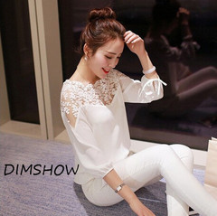 Women Loose Lace Stitching Chiffon Shirt Three-quarter Sleeve Sweet Office Leisure Lace Hollow Out white s