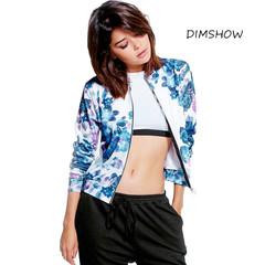 Fashion Floral Print Women Basic Coats 2018 Autumn Bomber Jacket Long Sleeve Casual Basic Jackets blue s