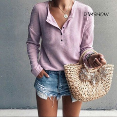 Autumn New 2018 V Neck  Hot Sale Long Sleeve Solid Short T-Shirts For Women Clothing Fashion Slim light purple s