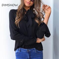 2018 New Lacing Flare Sleeve Chiffon Blouse Long Sleeve Office Women Tops Summer Elegant Shirts black s