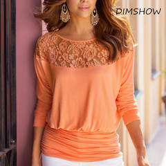 2018 Sexy Summer Women Lace Stitching Chiffon Blouses Loose Type Shirts Solid Color orange s