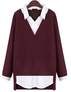 New Autumn Winter Women Loose Fake Two Pieces Knitted Shirt Women Tops Casual Plus Size wine red l
