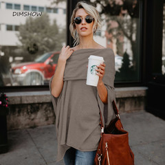 Long sleeve slash neck tops t shirt off shoulder leisure  spring autumn tops irregular  hem  tops coffee s