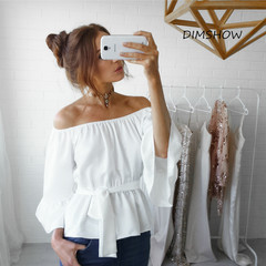 Fashion Summer 2018 Women Sexy Slash Neck Long Sleeve Loose Plus Size Casual Flare Sleeve  Shirts white s
