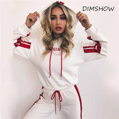 2018 Autumn 2 Piece Set Women Tracksuit Sportswear Casual White Red Sweat Pants Hooded Cropped white s