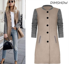 New Winter Woman Coats  Wool Blend Hit Color Woolen Elegant Long Sleeve Patchwork Warm Outwear khaki+grey s