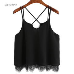 summer fashion Solid Chiffon Women New Lace Short Vest Top Sleeveless Casual Tank Crop Tops Blouse black s
