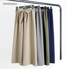 Autumn Summer Wide Leg Pants High Waist Elastic Waist Solid Color Loose Female Pants white free size