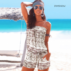 Sexy Off Shoulder Striped Print Elegant Short Jumpsuit Rompers Women Summer Beach Playsuits brown s
