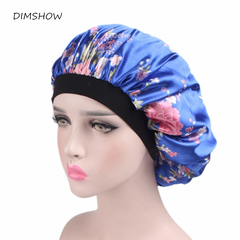 Wide Band Satin Bonnet Comfortable Night Sleep HatLadies Turban Hat For Women Headband Salon Hat random color free size