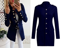 2019 Autumn Elegant Women Coat Slim Single Breasted Office Lady Coat Female Suit Formal Outwear navy blue s