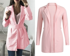 2019 New Autumn Winter Women Long Blazer Coat Fashion Simple Ol Turn-Down Collar Elegant Blazers pink s