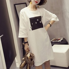 Summer Short Sleeve O-Neck Dress Cute Short Sleeve Letter Print Sexy Short T Shirt Dress m white