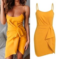Pleated Party Sexy Dress Yellow Mini Spring Spaghetti Strap Summer Sleeveless Sheath s yellow