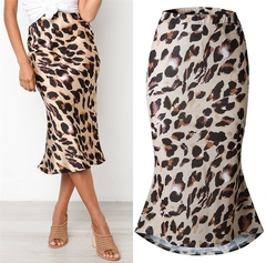 2019 Sexy Women Beach Dress Leopard print Summer Autumn Plus Size Skirt Female Skirts Streetwear beige s
