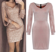 2019 Women Sexy Solid Sequined Stitching Shining Club Sheath Long Sleeved Mini Dress s gold