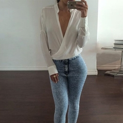 Solid Summer Tops S-XL Women Long Sleeve V Neck Loose Casual Sexy Blouse white s