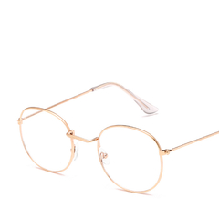 Woman Glasses Optical Frames Metal Round Glasses Frame Clear lens Eyeware Black Silver Gold gold one size