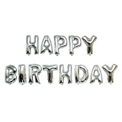 Foil Balloons Happy Birthday letter Balloons balls birthday Party Decorations Helium Balloons Silver 16Inch