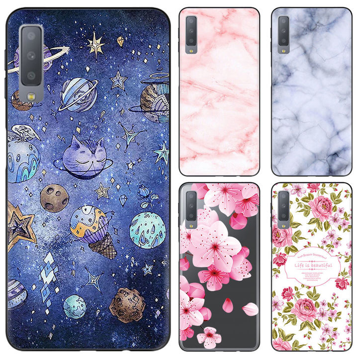 finest selection aeab3 a5aa3 Samsung GALAXY A7 2018 Mobile Shell A750 Mobile Phone Case Creative Painted  Silicone Soft Shell moral of flowers Samsung GALAXY A7 2018/A75