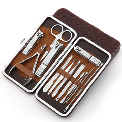 Man Women 18 in 1 Stainless Steel Nail Clipper Kit Manicure Set Nail Clippers Pedicure Ear Pick Set Brown 13 in 1