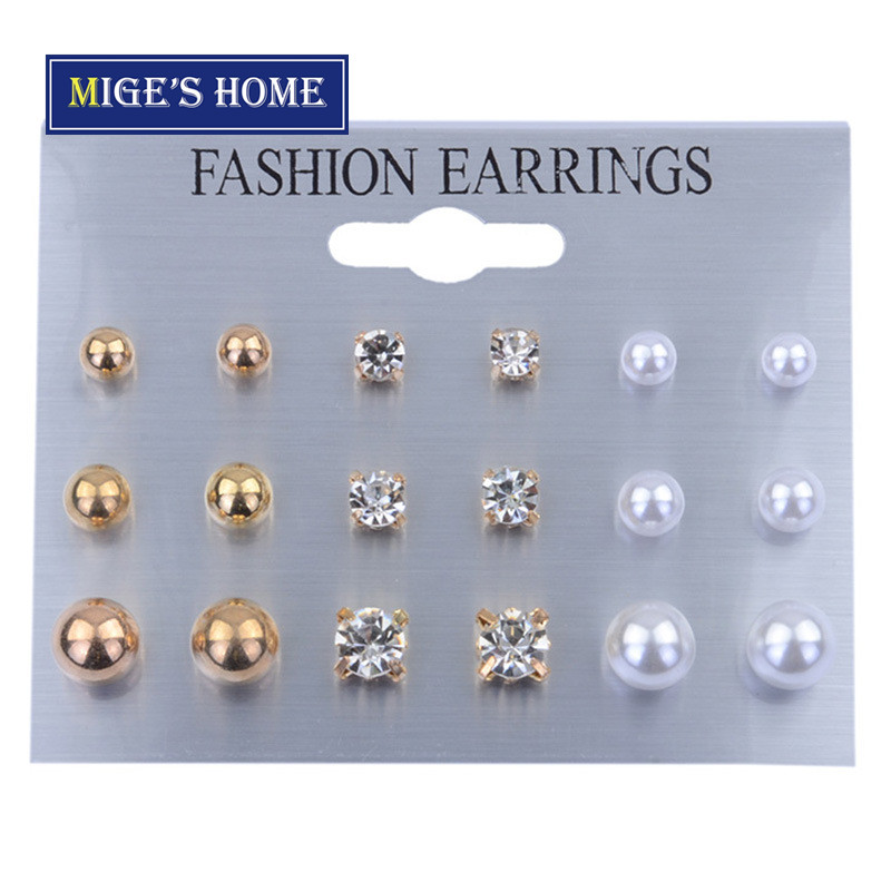 670d74f3811 9 Pairs/Set Crystal Alloy Round Gold Studs Earrings Vintage Silver Color  Simulated Pearl Earring Set gold 9 pairs