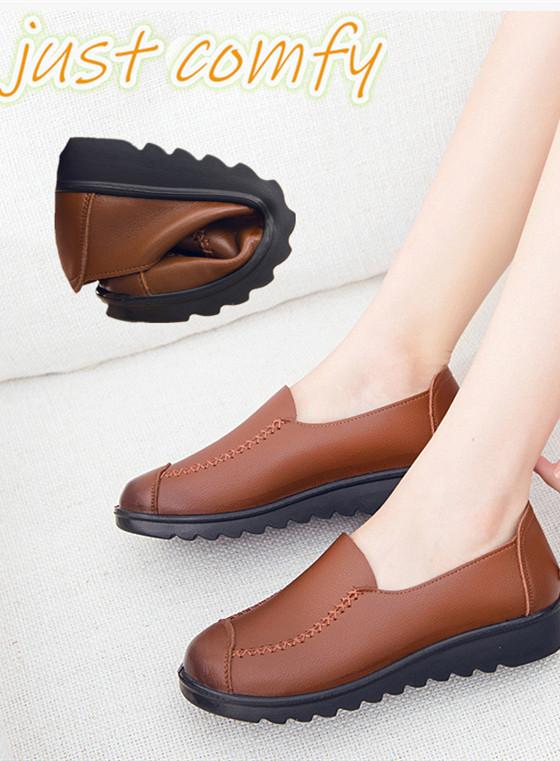 7142fe0c3e3 2018 fashion Ladies shoes Loafers Shoes Flats soft Leather Platform ...