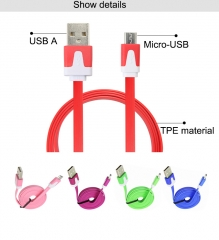 1M USB cable 2.0 for charging and data transfer mobile phone android cellphone usb line Mirco-USB Random colors 1m