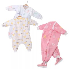 ignytech gauze cotton legs children's pajamas without bones sleeping bag anti-kick baby clothes 1 70cm