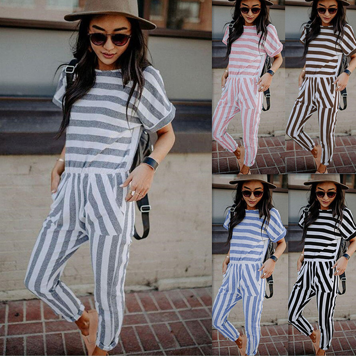 6d96ce64369 Fashion Casual Striped Jumpsuits Short Sleeve Tenths Pants Leng Jumpsuits  Women s Clothes Khaki xl