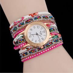New Ladies Bracelet Colorful Diamonds Quartz watch Garden Floral Rivet Winding Fashion Watch 4 as picture