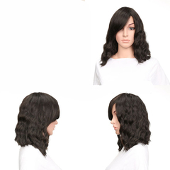 Black synthetic short curly hair women Wig headgear 1 one size
