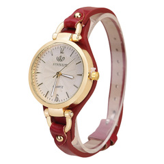New rivet ladies casual candy color thin belt pu leather quartz watch 3 as picture