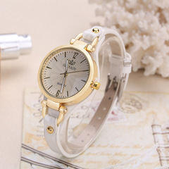 New rivet ladies casual candy color thin belt pu leather quartz watch 6 as picture